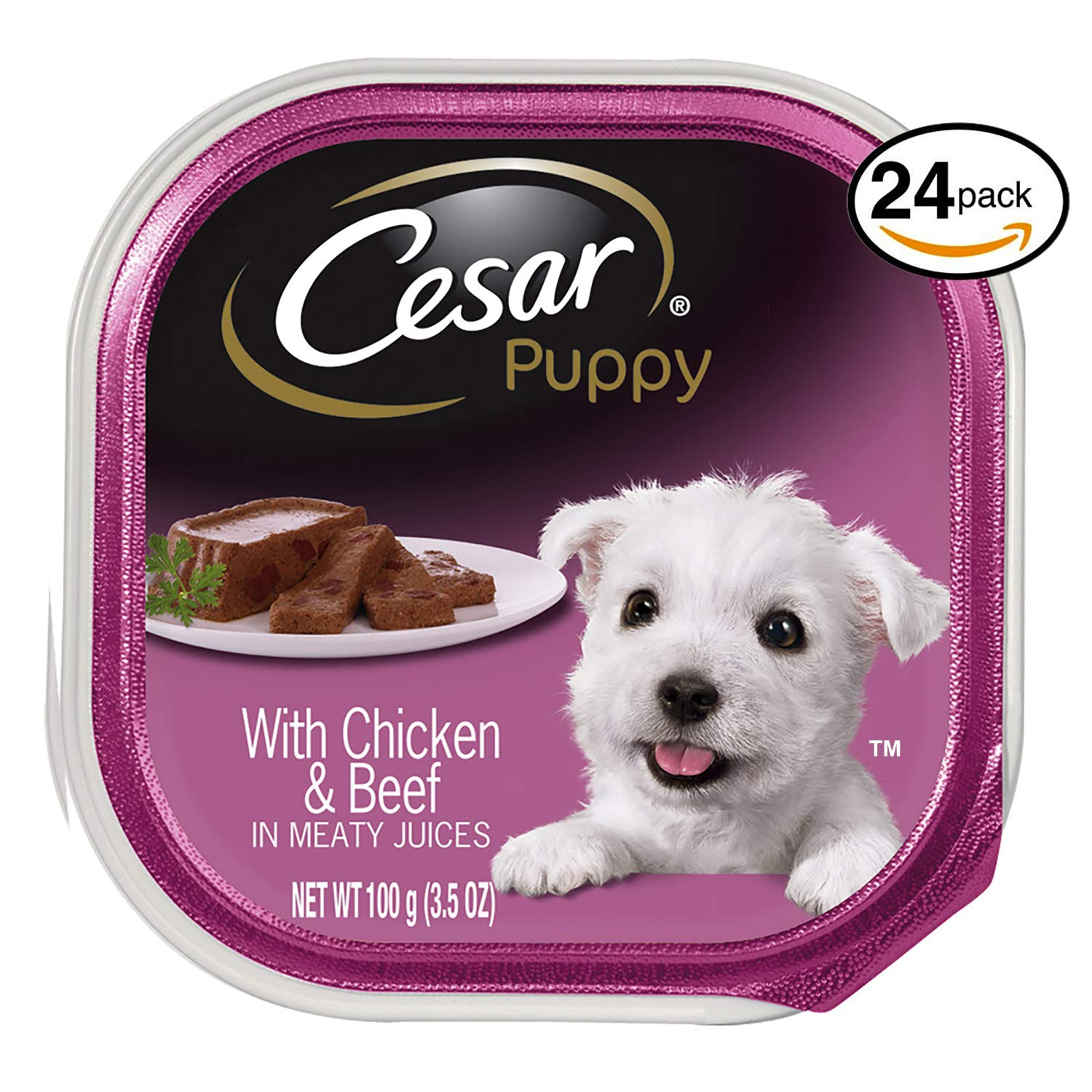 Cesar CANINE CUISINE Puppy Wet Dog Food with Chicken and Beef, (Pack of 24) 3.5 oz Trays