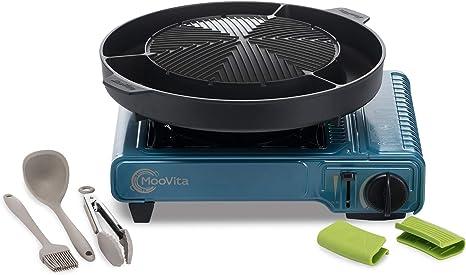 MooVita Barbacoa Set con hornillo de Gas, Nevera Plancha y Utensilios para Barbacoa, Camping hervidor, – Parrilla de Mesa, Azul