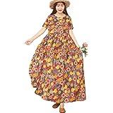 YESNO Women Casual Loose Bohemian Short Sleeve Floral Dress Long Maxi Summer Beach Swing Dress with Pockets EJFCAG