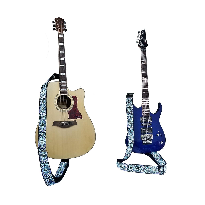 Suave Algodón Tejido Jacquard y Extremos de Cuero Genuino Correa de Guitarra con Sostenedor Creativo de Púas de Guitarra Ideal para Guitarra Eléctrica ...