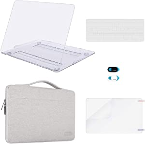 MOSISO MacBook Air 13 inch Case (A1369 A1466,Older Version 2010-2017 Release),Plastic Hard Case & Sleeve Bag & Keyboard Cover & Webcam Cover & Screen Protector Compatible with Mac Air 13, Clear&Gray