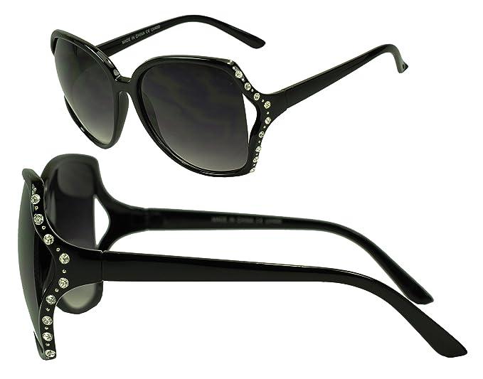 Womens Trendy Oversized Classic Rhinestone Frame Sunglasses w/ Gradient Lens