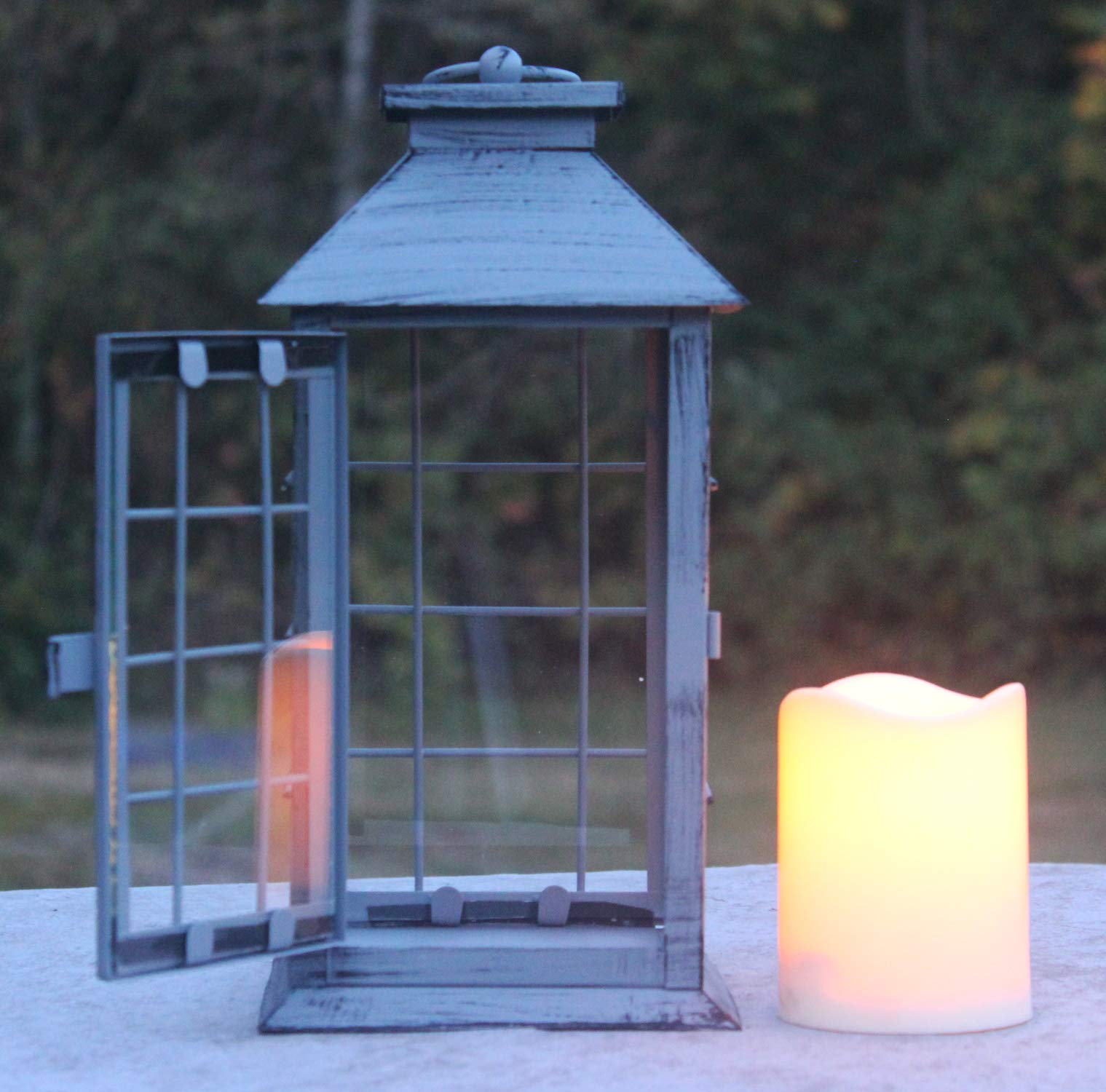 Seraphic Country Style Gray Rustic Metal Lantern with Flickering Flameless LED Candle, Case of 6 by Seraphic (Image #5)