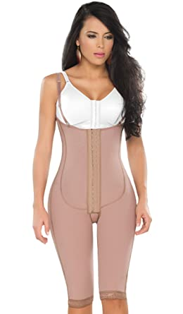 Dprada Fajas 11175 Braless Bodysuit Braless Post Surgery Compression Girdle (Mocha, Small)