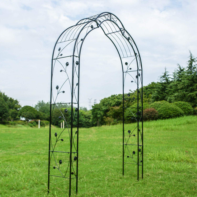 Kinbor 2 Sides Outdoor Metal Garden 8'2'' H x 4'11'' W Arch Garden Arbour for Climbing Plant Outdoor Garden Lawn Backyard (2 Sides 8'2'' H x 4'11'' W Style D)