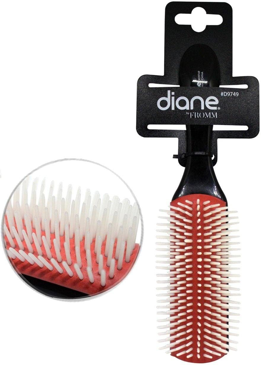 Diane 9-Row Professional Styling Brush, Black/Red