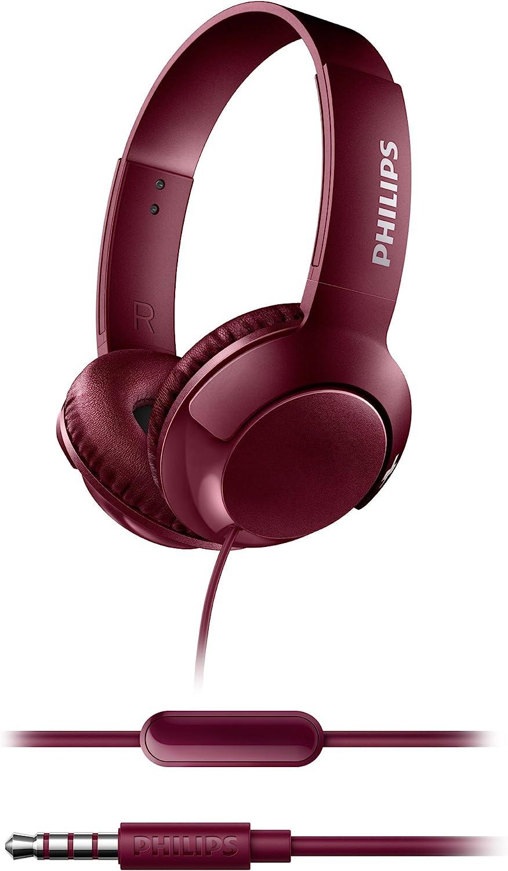 Philips Bass+ SHL3075RD - Auriculares con micrófono (Cable, Bajos potentes, Plegables, Ligeros y Elegantes) Rojo