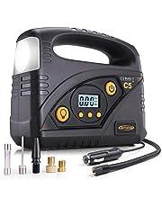 AUTLEAD C5 Compresor Aire Coche, 40L/Min Compresor de Aire Portátil, Inflador Eléctrico 12V con Apagado Automático, Luz LED 3 en 1, Manómetro, 4 Adaptadores de Boquilla