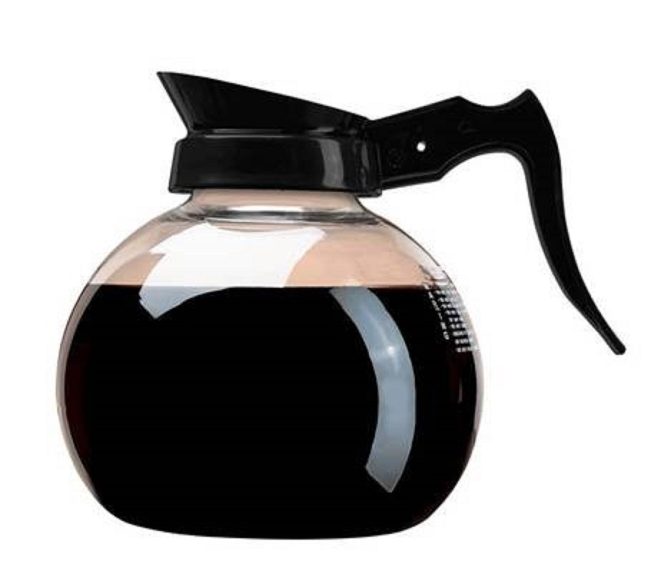 Wilbur Curtis Commercial Coffee Decanter - Impact Resistant - Black Handle & White Imprint Logo - 64 Ounce REGULAR Coffee Decanter - (Each)