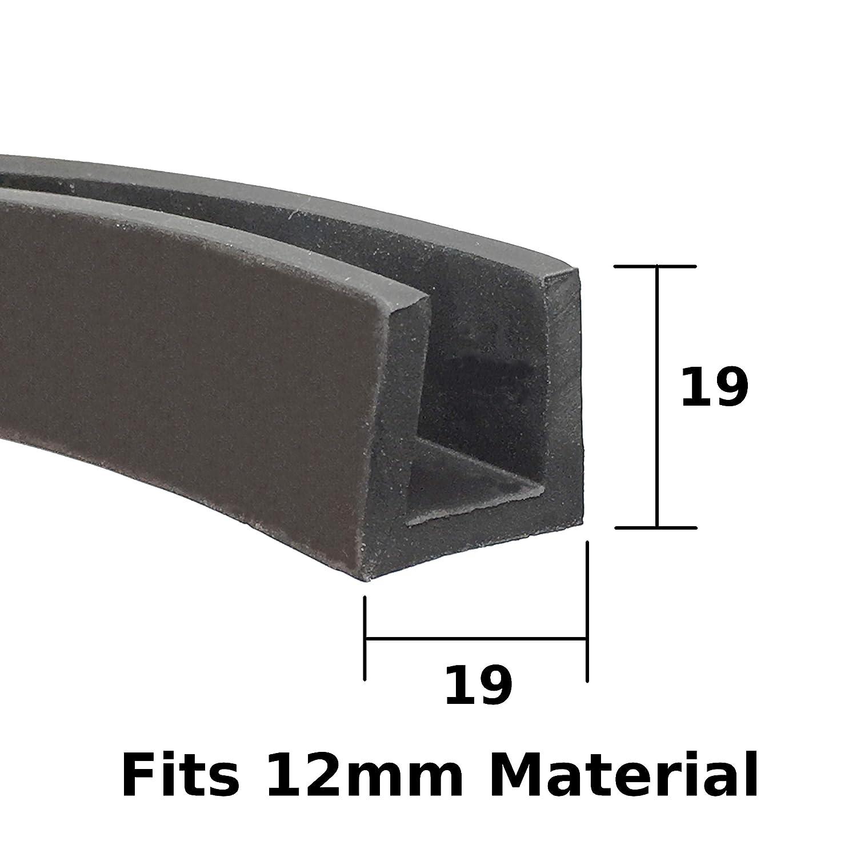 Square Edge U section EPDM black rubber car edge protective trim 19mm x 19mm fits 12mm The Metal House