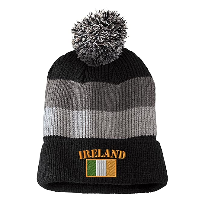 effb5e146e2 Ireland Flag Embroidered Unisex Adult Acrylic Vintage Striped Removable Pom  Pom Beanie Winter Hat - Black