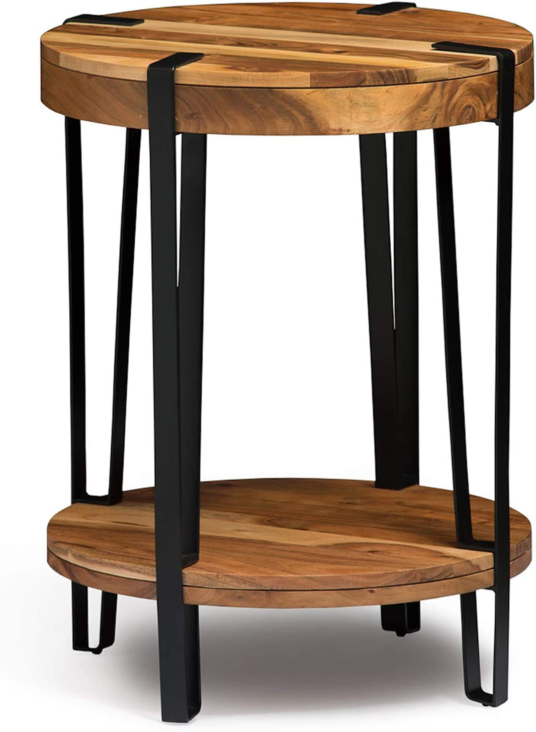 Alaterre Furniture Ryegate Natural Solid Wood with Metal Round End Table, Live Edge