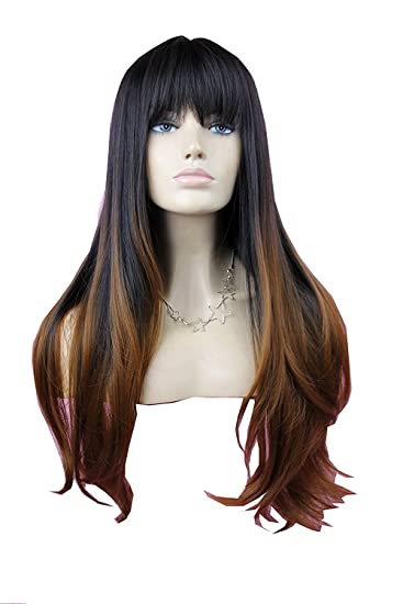 VIMIKID 28 inches Women s Silky Long Straight Wig Heat Resistant Synthetic  Wig With Bangs Human Hair f442b0779