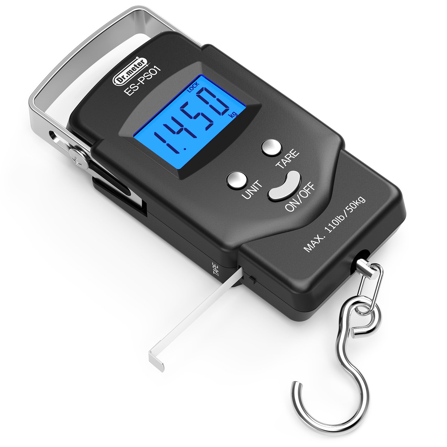 [Backlit LCD Display] Dr.meter PS01 110lb/50kg Electronic Balance Digital Fishing Postal Hanging Hook Scale with Measuring Tape, 2 AAA Batteries Included by Dr.meter