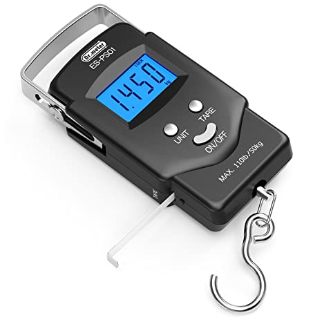 682787a067c6 [Backlit LCD Display] Dr.meter PS01 110lb/50kg Electronic Balance Digital  Fishing Postal Hanging Hook Scale with Measuring Tape, 2 AAA Batteries ...