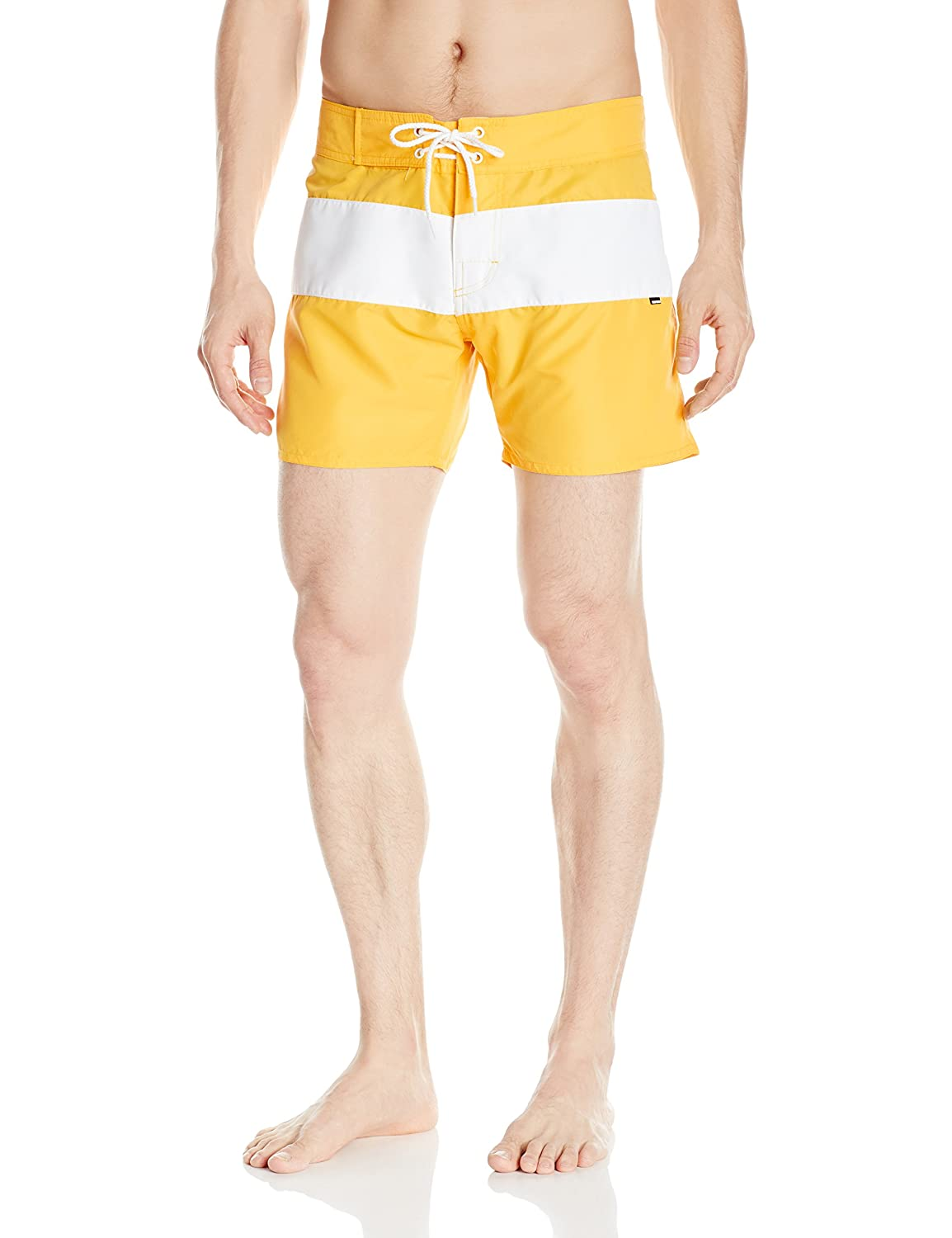 252a7bec37 Sauvage Men's Fixed Waist Positano Italian Striped Swim Trunk | Amazon.com