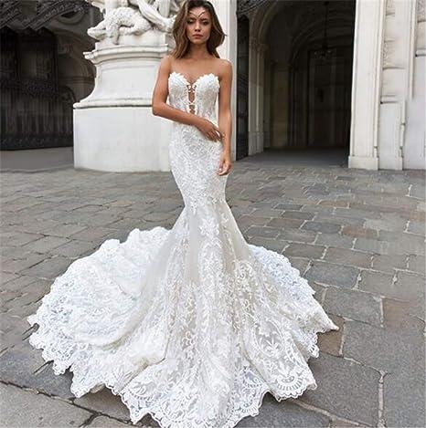 Vestido de Novia, Hermosa Sirena de Encaje con Cuello en V ...