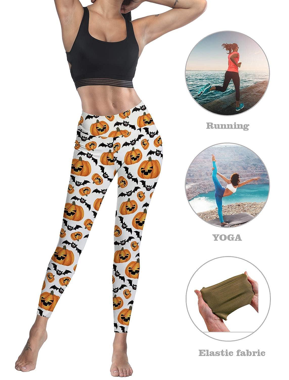 Womens High Waist Leggings Party Yoga Running Funny Halloween Pumpkin and Bat