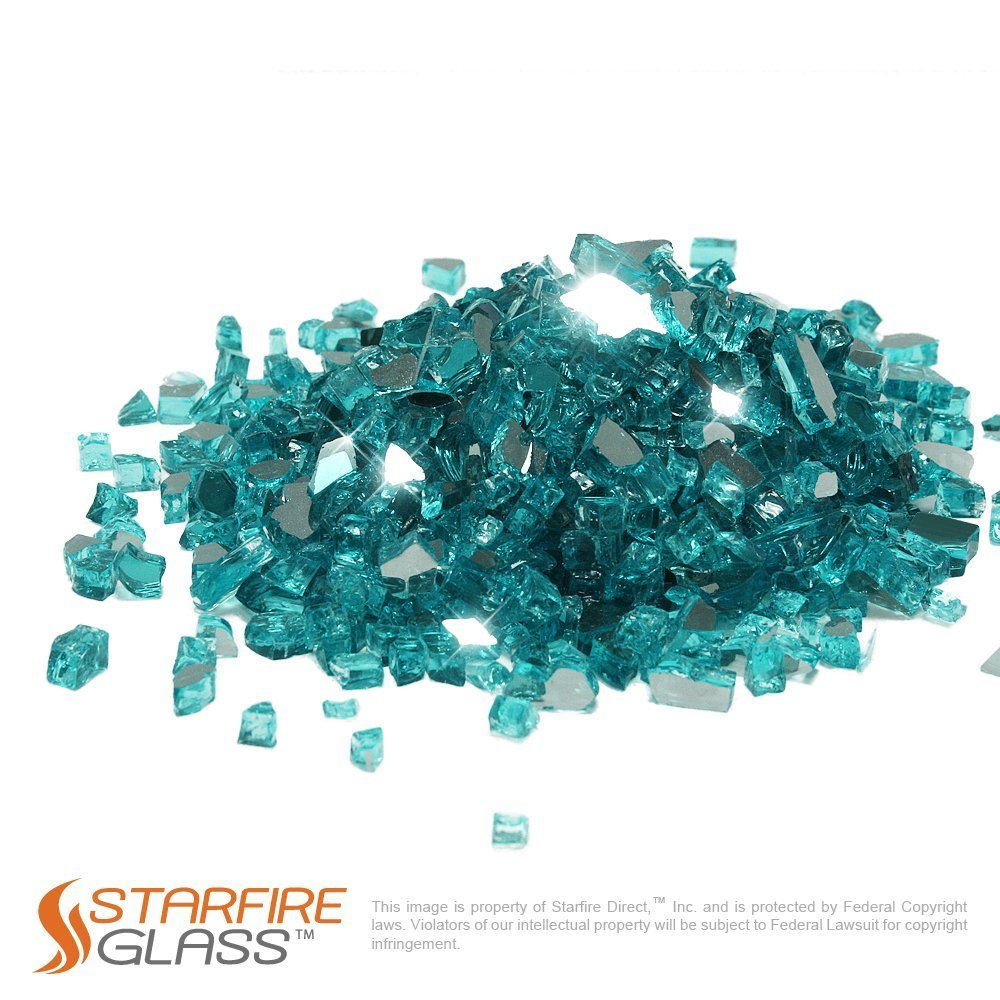 Starfire Glass 10-Pound Fire Glass 1/2-Inch Caribbean Blue Reflective
