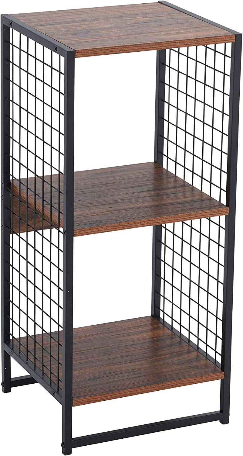 Household Essentials Hickory 8112-1 2 Organizer with Metal Mesh Sides | Fits 13 Inch Storage Cubes | 14.5 in W x 13.2 in D x 28.1 H | Black