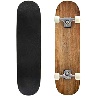 """Green Background rockandrolls and Pictures Outdoor Skateboard 31""""x8"""" Pro Complete Skate Board Cruiser 8 Layers Double Kick Concave Deck Maple Longboards for Youths Sports : Sports & Outdoors"""