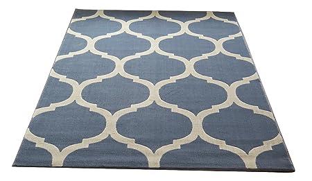 ASPECT Canvas Moroccan Trellis Geometric Rug Blue 120 x 170 cm