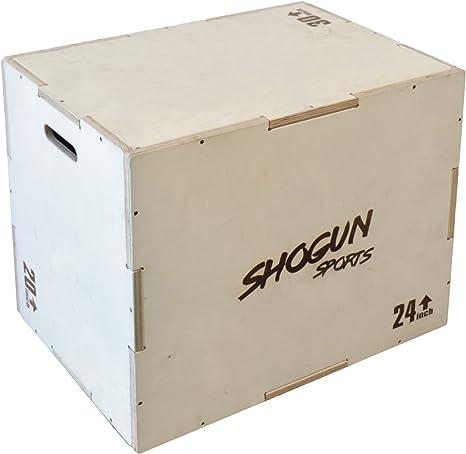 Shogun Sports - Caja de madera plyométrica 3 en 1 Caja de salto para crossfit, acondicionado MMA y entrenamiento de fuerza. Disponible en 4 tamaños (30/24/20-24/20/16-20/18/16-16/14/12), 20/24/30: Amazon.es: Deportes y aire libre