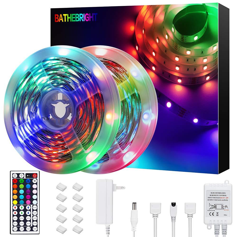 BATHEBRIGHT LED Strip Lights, 32.8ft Color Changing Led Light Strip SMD 5050 with 44-Key IR Remote for Room,Bedroom, TV, Home, Kitchen, Holiday Decoration, Bright RGB LED Lights Easy Installation