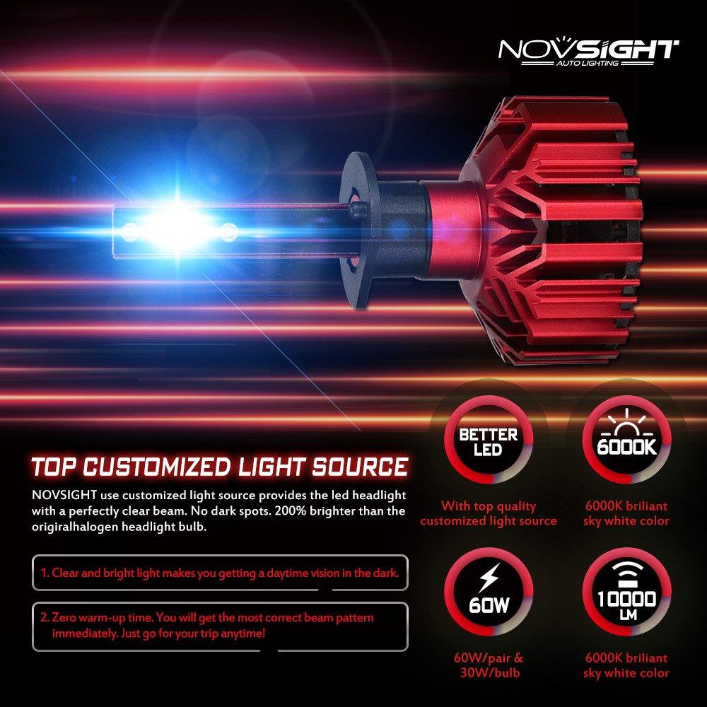 pack of 2 Car LED Headlight Bulbs Conversion Kits H4 HB2 9003,60W 10000LM 6000K Cool White IP68 Waterproof All-in-one LED Automotive Lights Bulbs Headlight Assemblies Wanmingtek WMA500-N11