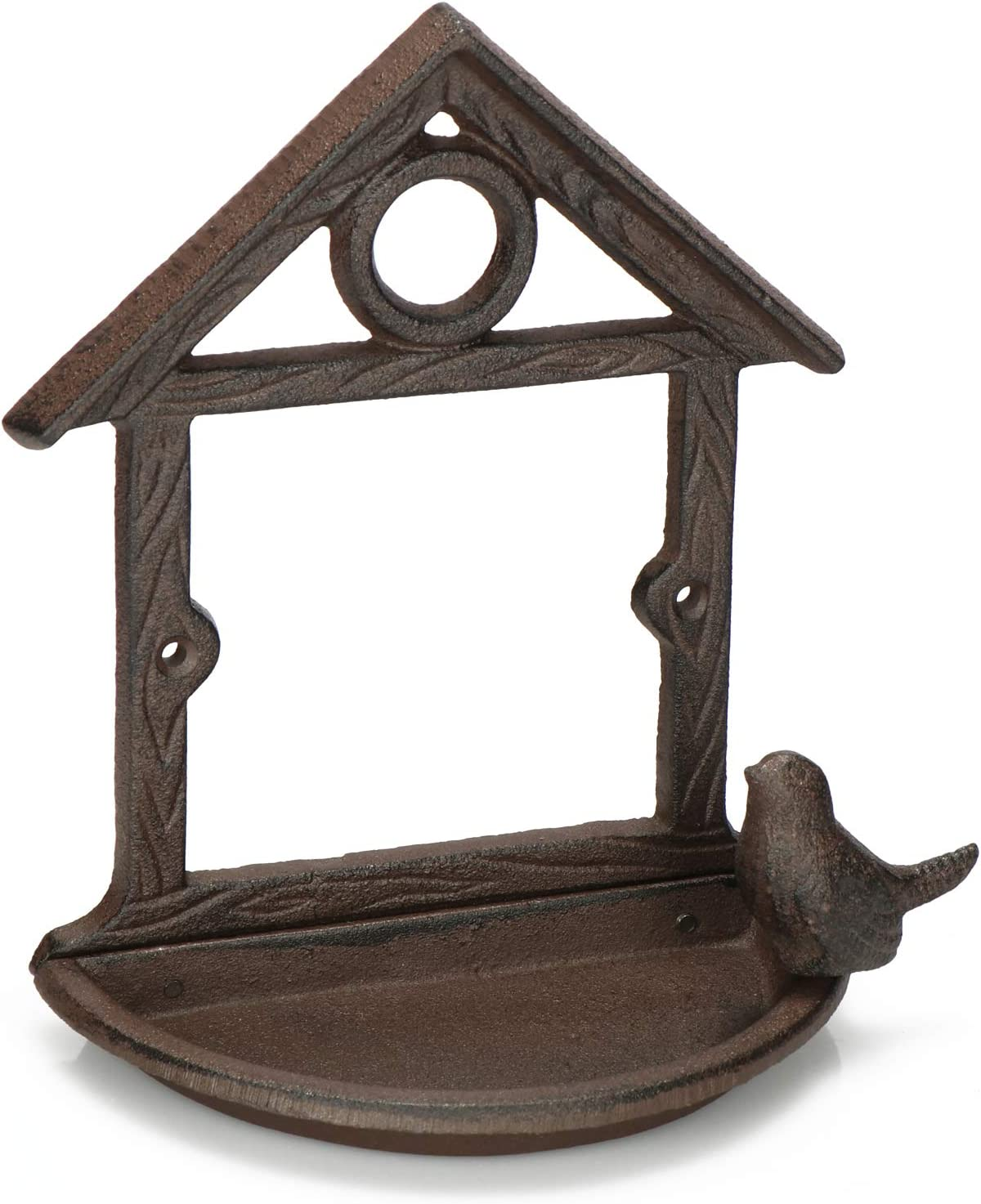 com-four® Baño para Aves Silvestres - Casa de alimentación de Hierro Fundido - Baño de Agua Decorativo para Colgar en el jardín