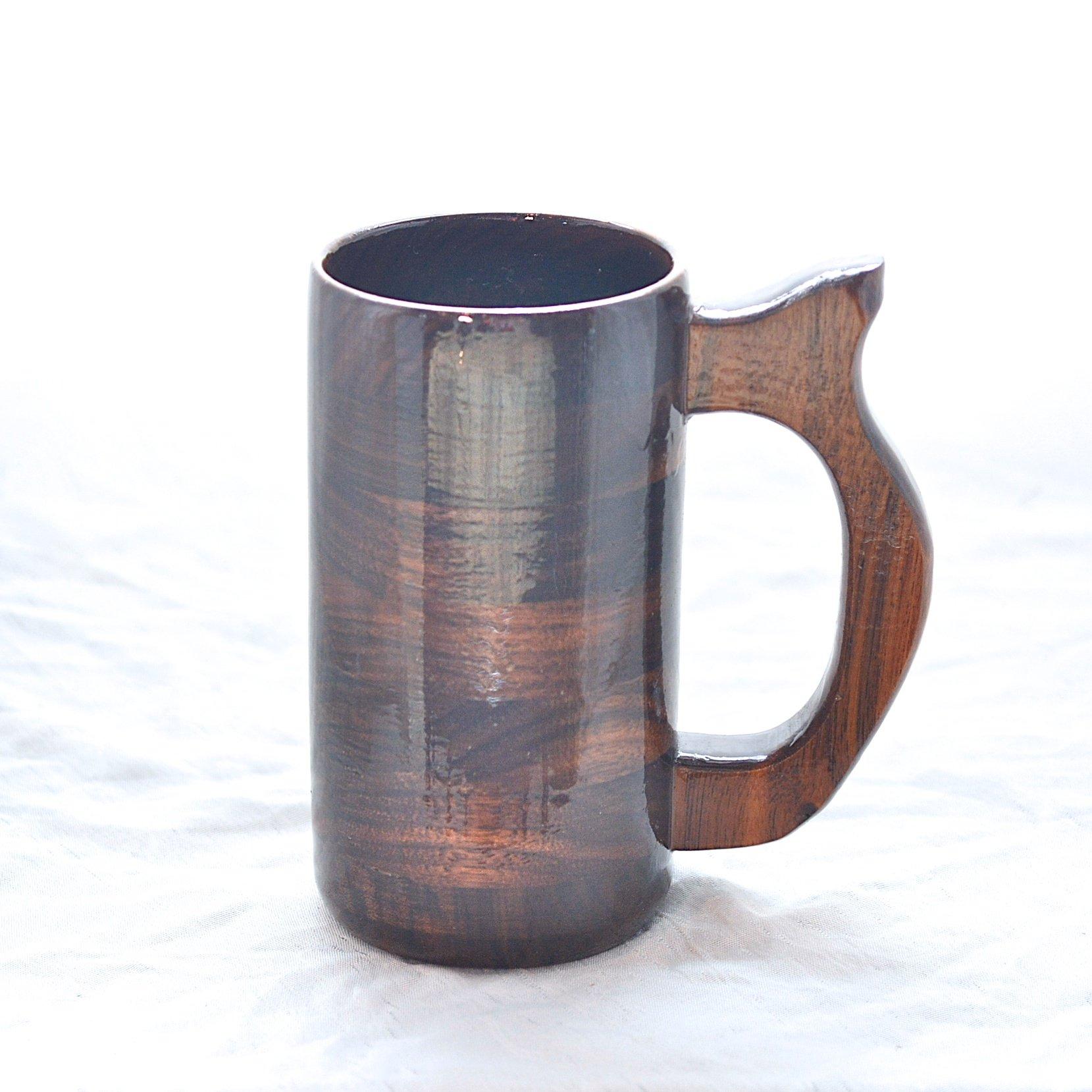 12 Ounce Wooden Walnut Beer Stein, Wood Coffee Mug, Renaissance Festival Stein
