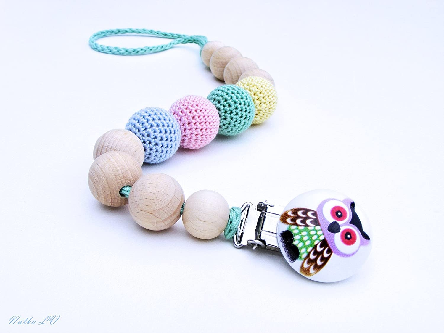 Amazoncom Pacifier Clip Dummy Chain Crochet Pacifier Holder
