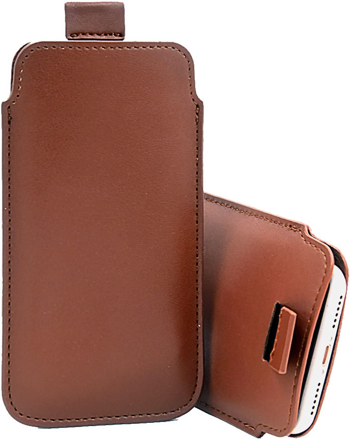 Blue For Asus Zenfone 6 Slim Real Genuine Soft Leather Pull Tab Slide In Pouch Sleeve Case Cover DOT