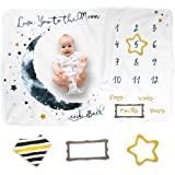Luka&Lily Baby Monthly Milestone Blanket for Baby Boy and Girl, Personalized Baby Blanket for Newborn Baby Shower, Month Blan