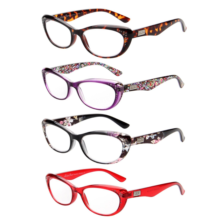LianSan Designer Womens Wayfarer Frames Cat Eye Reading GlassesL3705 4-pack+3.50 CA-L3705X-4PACK350