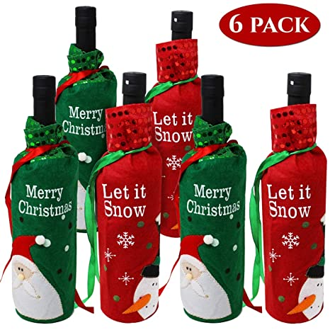 Moji 6 Bolsas de Botellas de Vino navideñas. Ideal Regalo de ...