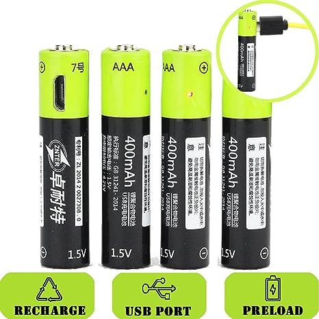 SOEKAVIA 400 mAh 1.5 V AAA batería recargable Micro USB integrado: Amazon.es: Electrónica