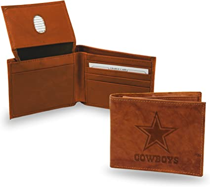 Rico Industries NFL Mens NFL Embossed Genuine Leather Billfold Wallet
