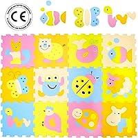 LUDI – Tapis de sol épais pour l'éveil de bébé – 1011 - puzzle géant aux motifs Animaux – dès 10 mois – lot de 12 dalles en mousse aux couleurs douces et 70 éléments de jeu.