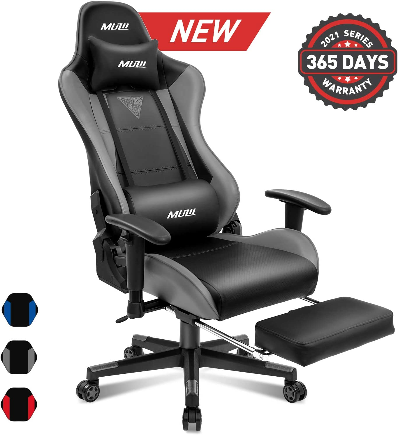 Muzii Gaming Chair with Footrest, High-Back PU Leather Office Chair with Headrest and Adjustable Lumbar Support,Ergonomic Computer Swivel Chair for Teens and Adults-Grey(001)