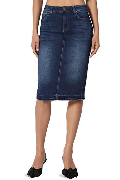 TheMogan Women's Butt Lift Washed Blue Jean Pencil Midi Soft Denim Skirt Dark M best jean skirts