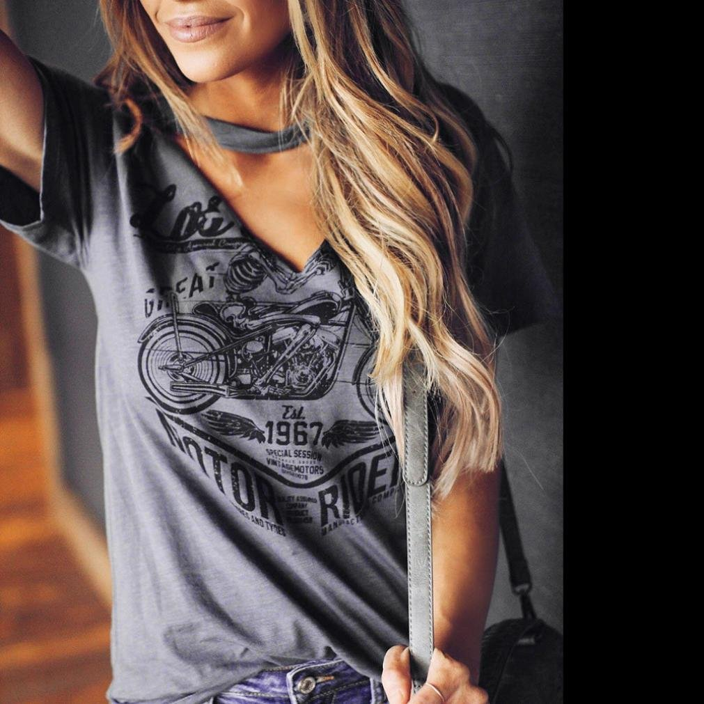 FORUU Womens Summer Short Sleeve Choker V Neck Blouse Stylish Print Top T Shirts ZYH20180530