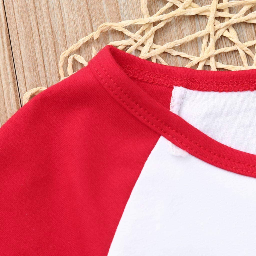 TIANRUN Baby Boys Girls Birthday Short Sleeve Letter Print Tops T-Shirt O Neck Color Block Clothes