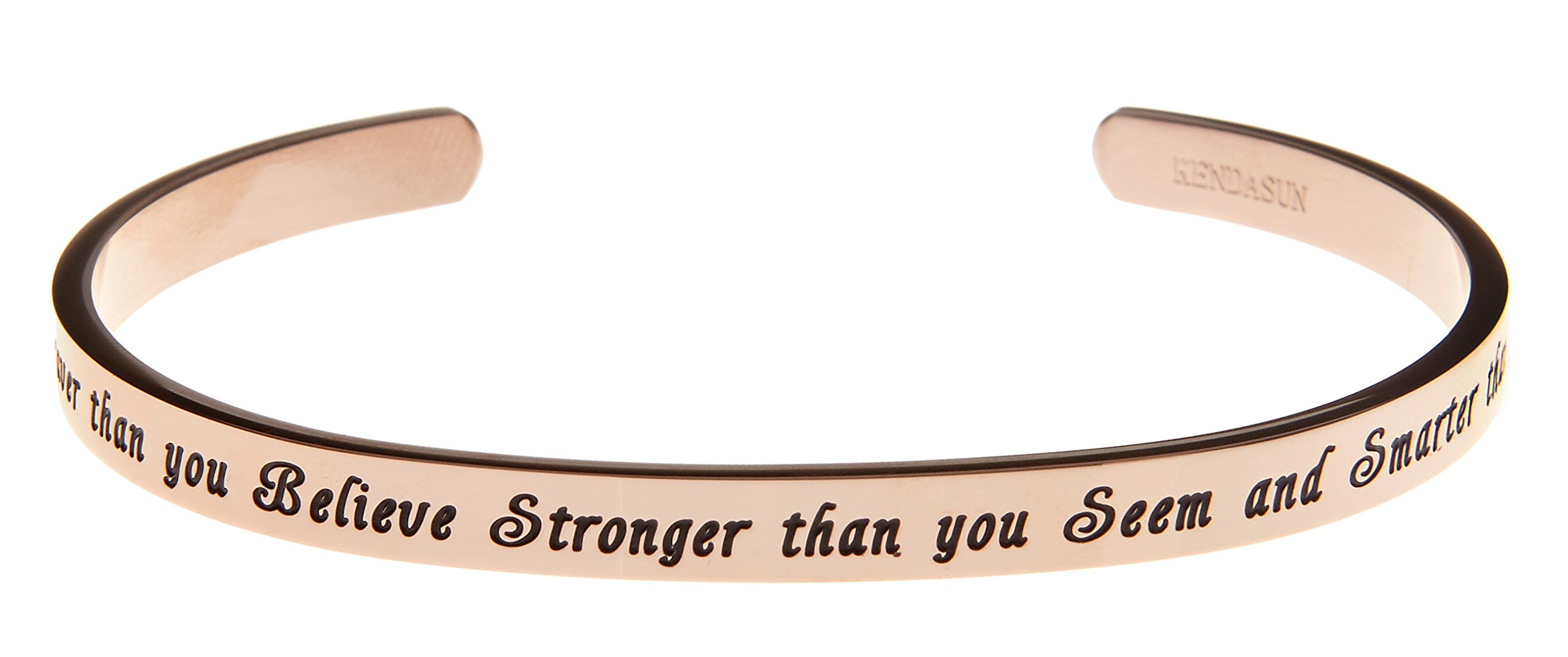 Kendasun Jewelry ''You are Braver than you Believe Stronger than you Seem and Smarter than you Think'' Cuff Bangle Bracelet (Rose Gold)