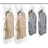 "TAILI Hanging Vacuum Storage Bag Space Saver Bags for Clothers, Vacuum Seal Clear Bags for Dress, Set of 4 (2 Short 41.3""x27.6"", 2 Long 53""x27.6""), Closet Organizer"