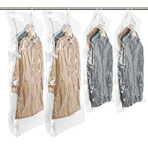 "TAILI Hanging Vacuum Space Saver Bags for Clothes, Set of 4 (2 Long 53""x27.6"", 2 Short 41.3""x27.6""),Vacuum Seal Storage Bag Clear Bags for Suits, Dress or Jackets, Closet Organizer"