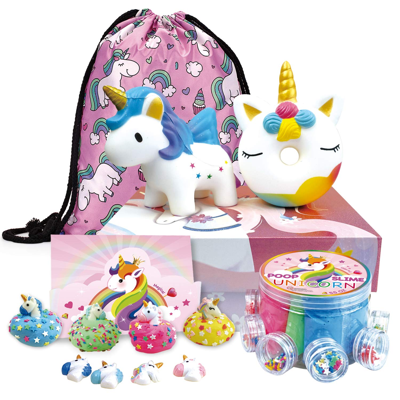 Deluxe Unicorn Gift Set for Girls - Unicorn Jumbo Squishies 2, 4-Color Unicorn Fluffy Slime, Unicorn Drawstring Backpack, Unicorn Card - Packaged in Unicorn Gift Box