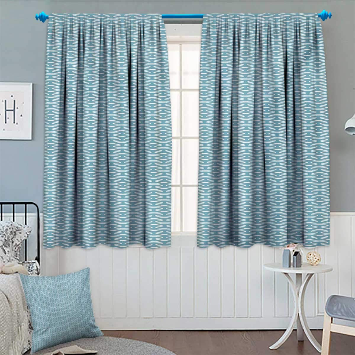 Amazon.com: Anhounine Abstract,Blackout Curtain,Wavy Stripes Blue ...