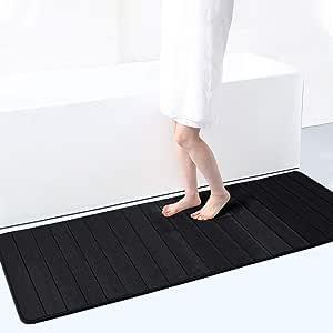 "Memory Foam Soft Bath Mats - Non Slip Absorbent Bathroom Rugs Extra Large Size Runner Long Mat for Kitchen Bathroom Floors 23.6""x70.9"", Memory foam, Black, 24""x70""/60x180cm"