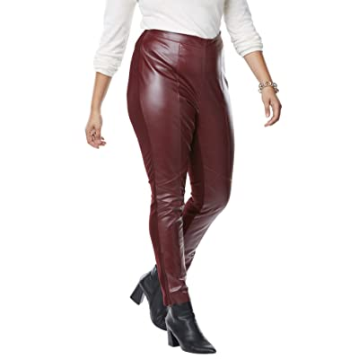 Jessica London Women's Plus Size Ankle Zip Leather and Ponté Jeggings at Women's Clothing store